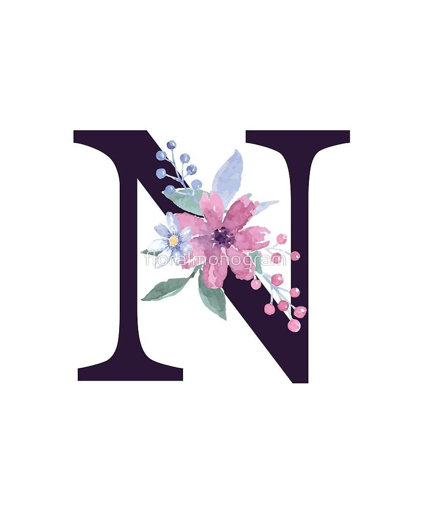 Monogram N Summer Flora Sticker By Floralmonogram In 2021 Alphabet Wallpaper Floral Monogram Letter Printable Floral Monogram Letter