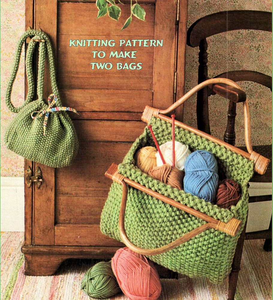 Knitting Pattern for Two Moss Stitch Bags - The finished handbag ...