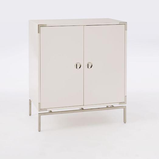Attirant Malone Campaign Bar Cabinet, White Lacquer/ Polished Nickel
