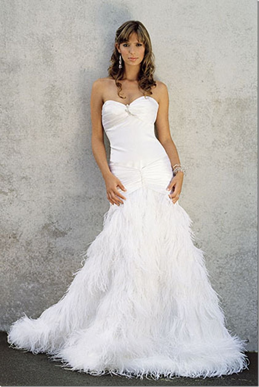 love the feathers on the bottom!!! marabou feather wedding dress ...