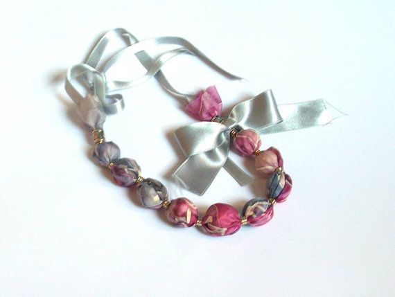 Luxurious silk necklace ice blue pink silver grey by TanjaDesign, $39.00