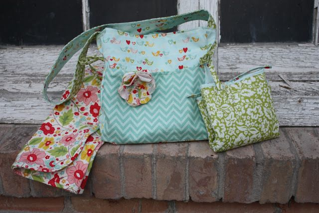 Classic Doll Diaper Bag Pattern, Mixi Heart Patterns, Doll Diaper Bag with changing pad and receiving blanket, Riley Blake The Sweetest Thing Fabric