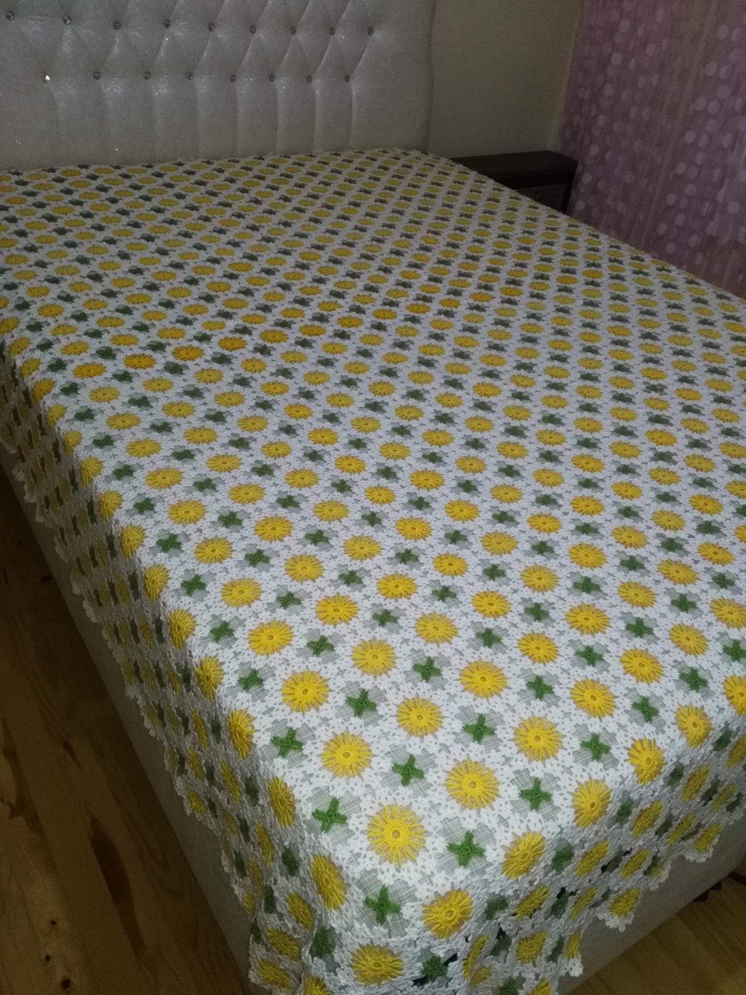 Renkli Orgu Yatak Ortusu Blanket Diy Blanket Crochet Bedspread
