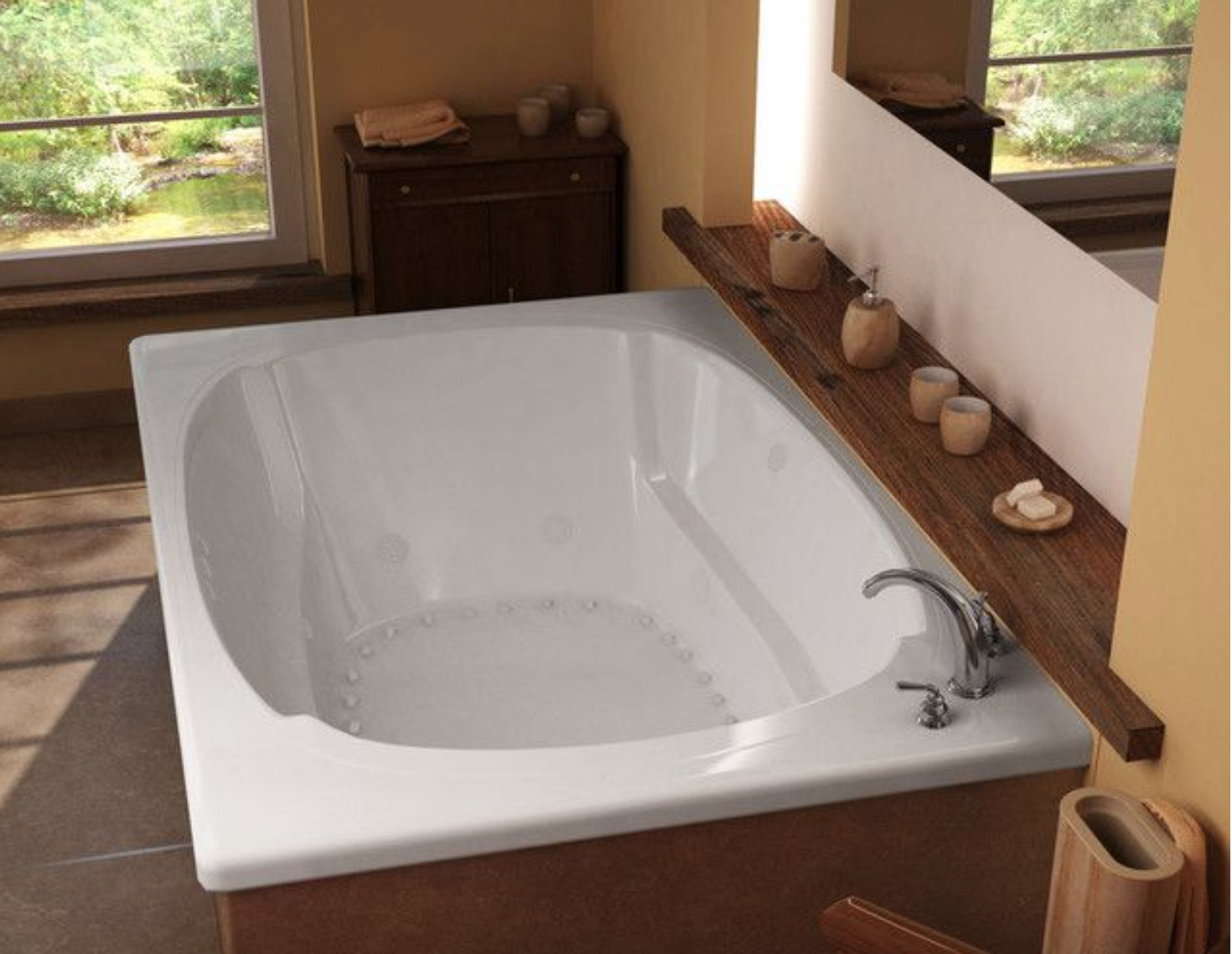 I like this large drop in tub with the shelf and mirror
