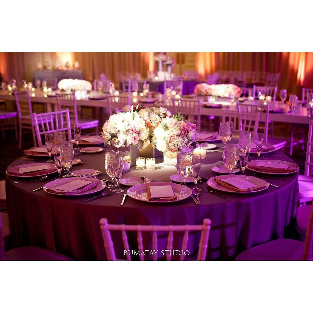 Purple Wedding Ideas With Pretty Details: Feeling Inspired By This #peach And #purple #uplighting