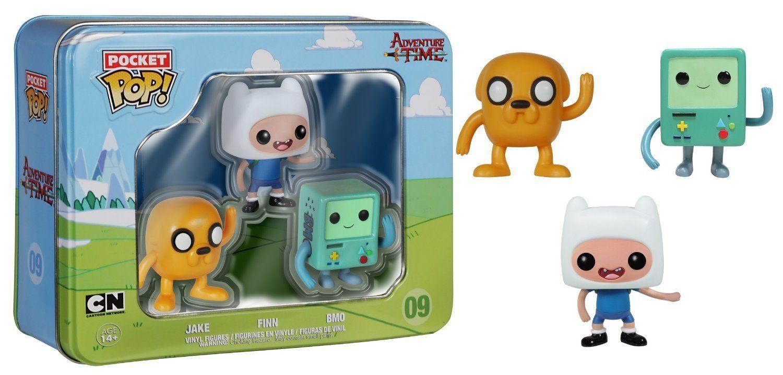 Amazon Com Adventure Time Tin Jake Finn Bmo 3 Pack Funko Pocket Pop Toys Games Vinyl Figures Mini Funko Pop Pop Vinyl Figures