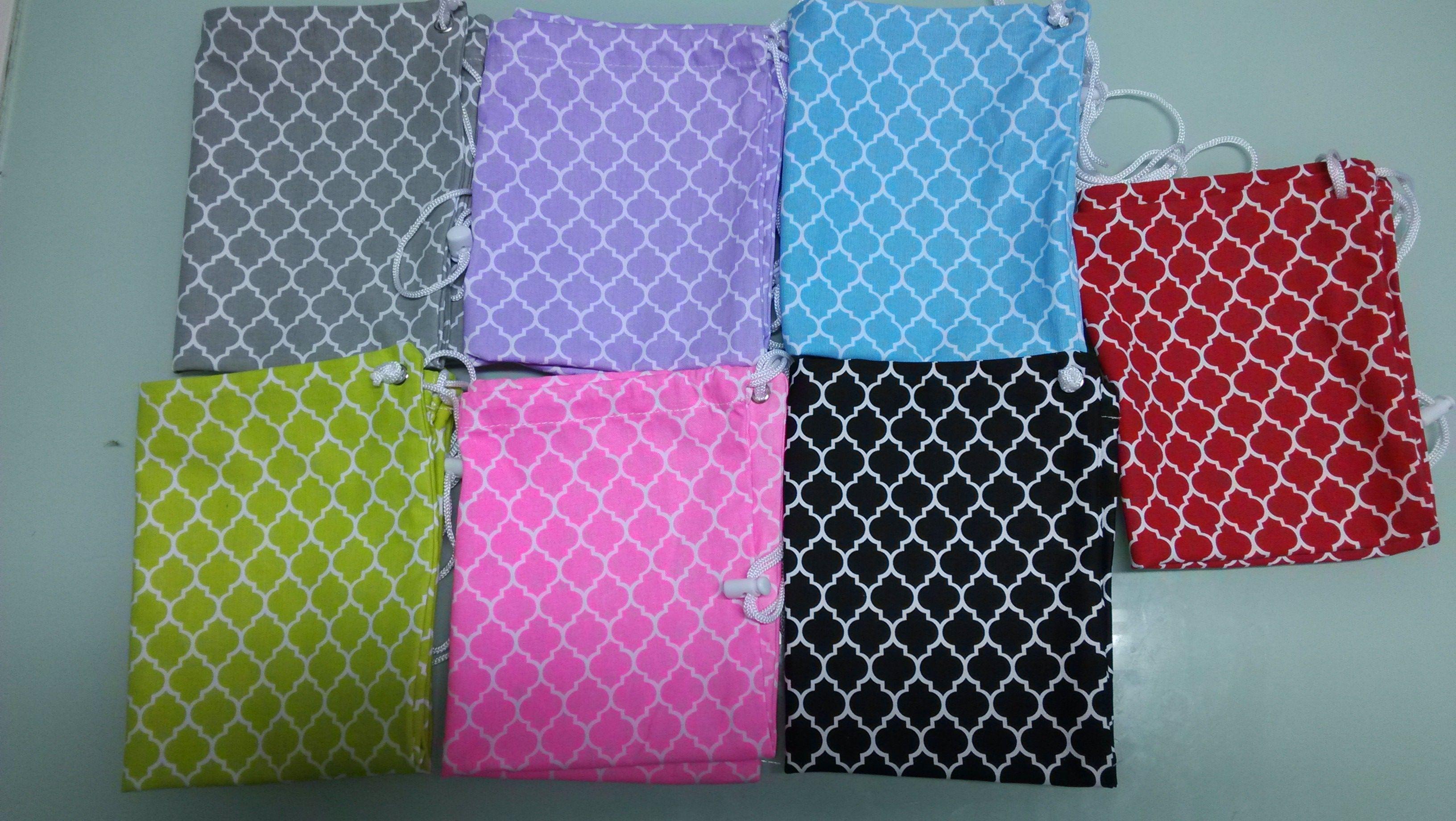 Quatrefoil Cotton Canvas Drawstring Gym Bag, Muti Color