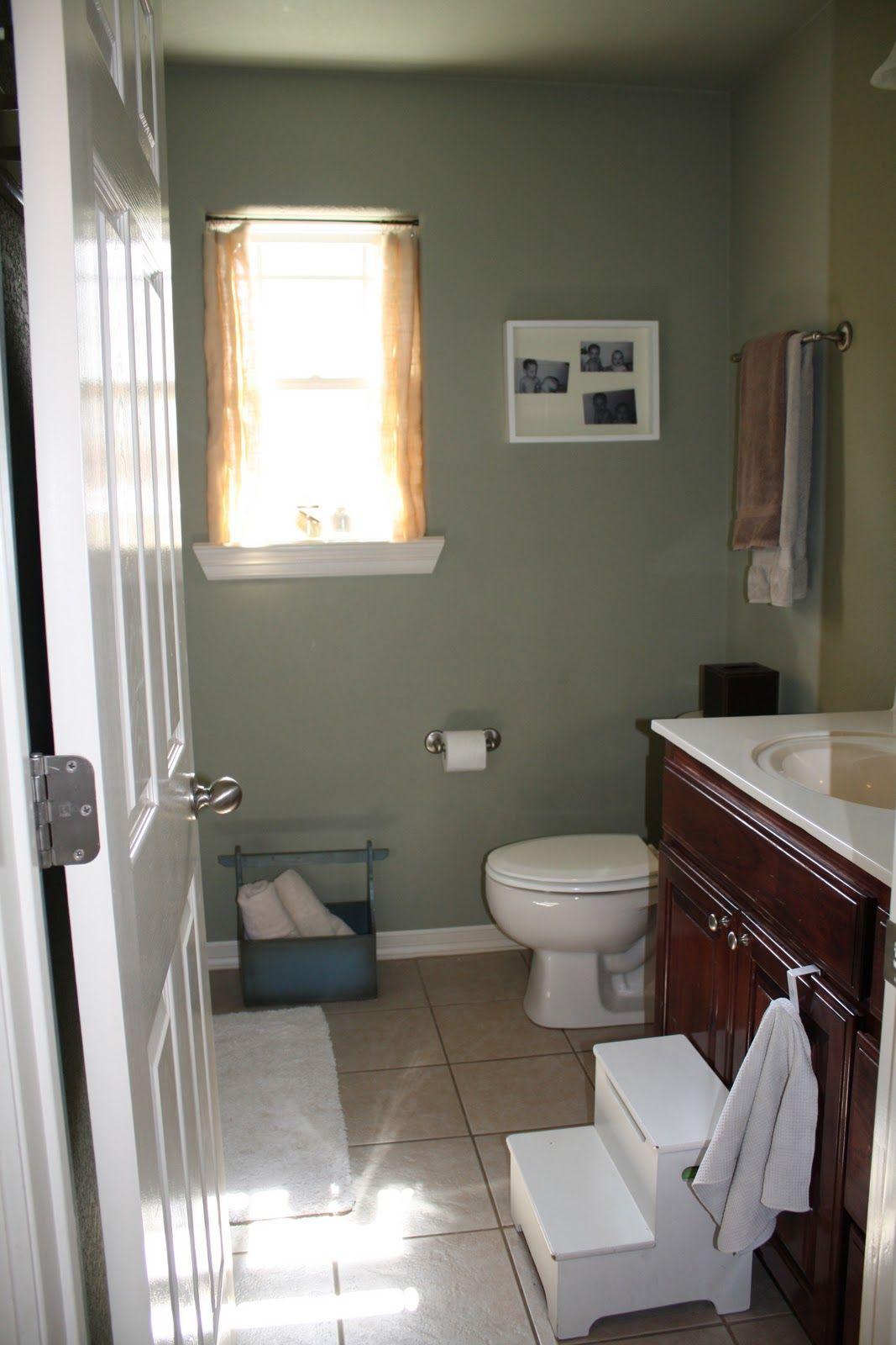 Sage Green Walls, White Fixtures Light Tan Floor