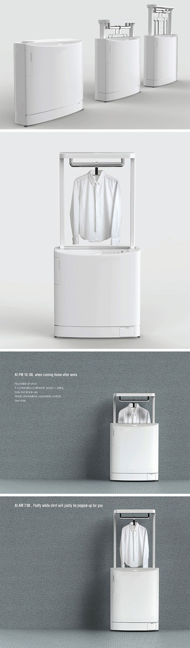 This is called Pop-Up Laundry and it's a twist on the washing machine that takes inspiration from the toaster. Yes, you heard that right! The super-slim design saves space in a single person's apartment or home where extra room may not be available. Simply hang up your dirty shirt and with the push of a button it will lower and the cleaning/pressing process will begin.