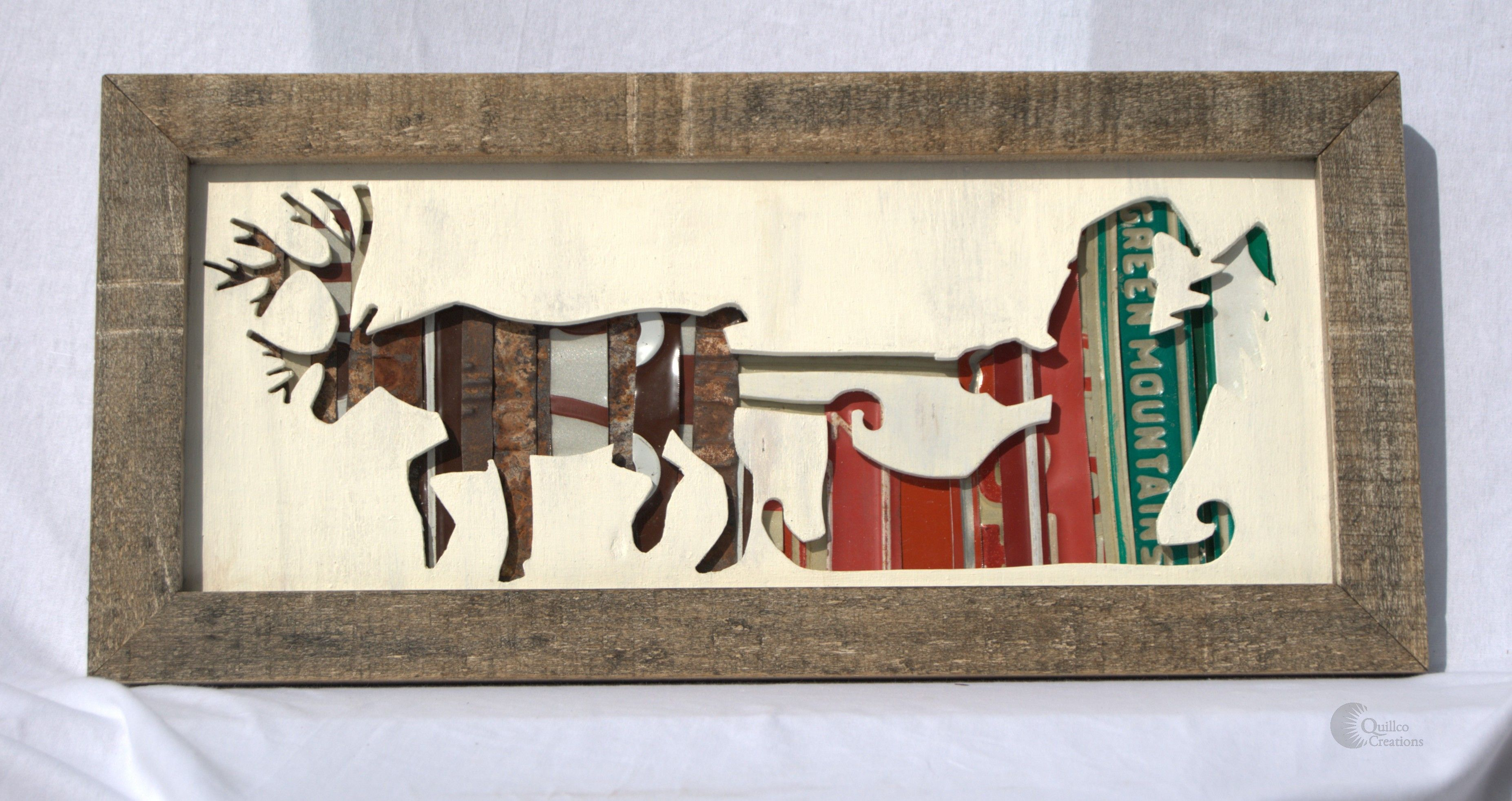 Santa and a reindeer silhouette, made from reclaimed wood and ...