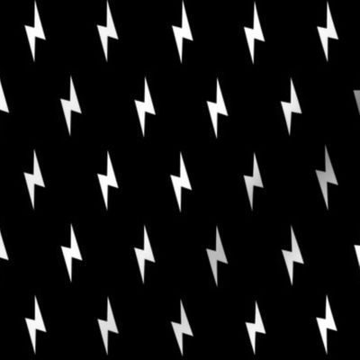 Colorful fabrics digitally printed by Spoonflower - white lightning bolt on black