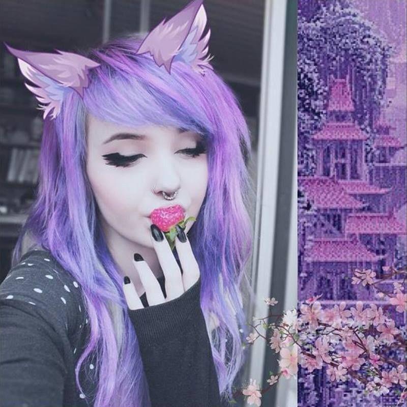 purple hair alternative cute