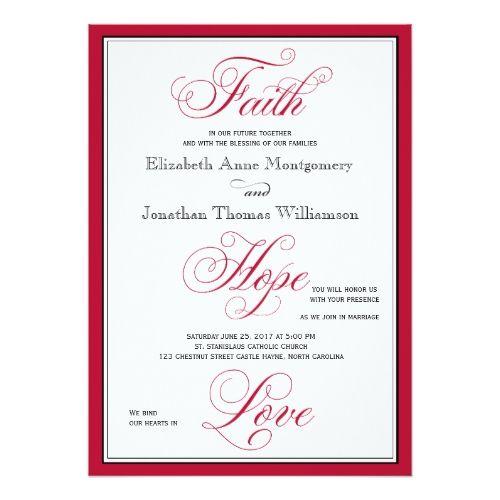 Elegant Faith Hope Love Script Wedding Invitation Christian