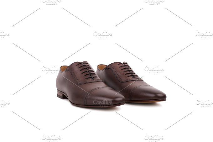 Brown Leather Shoes Photos Male Shoes Isolated On The White