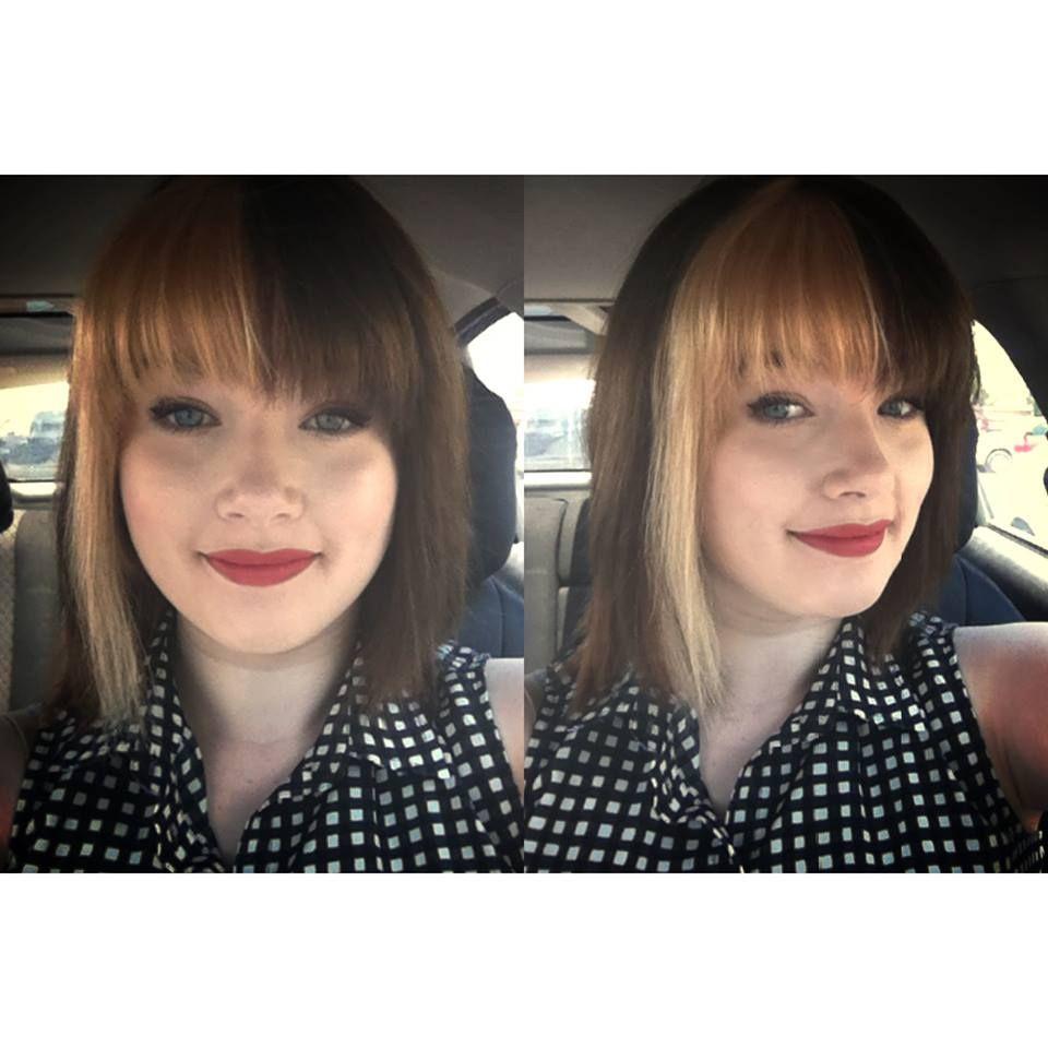 Half Blonde Half Brown With Bangs Split Dyed Hair Hair Streaks Alternative Hair