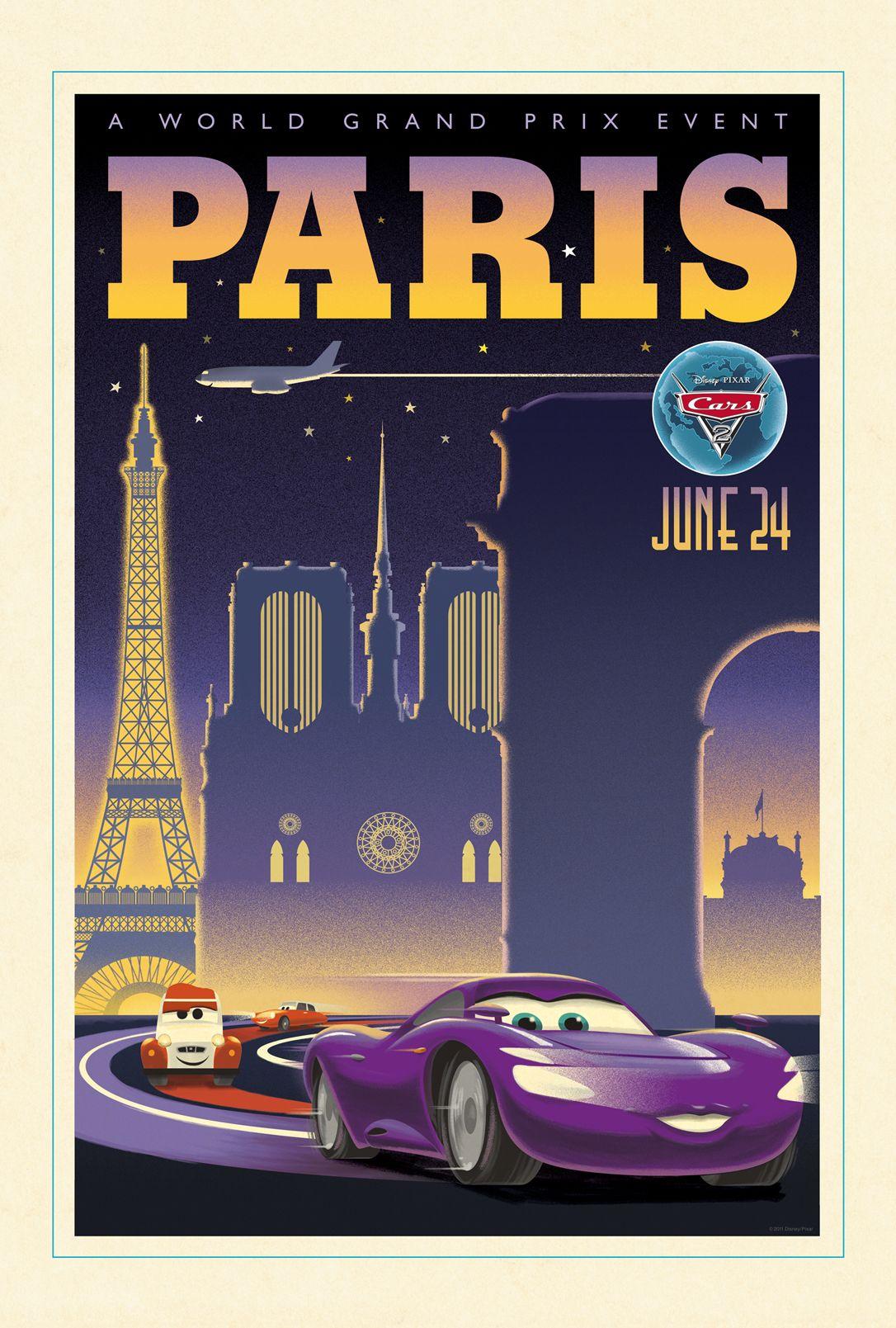 Cars 2 au cinema le 27 juillet 2011 Affiche rétro