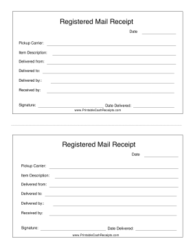 Registered Mail Receipt Bookkeeping Templates Receipt Mailing