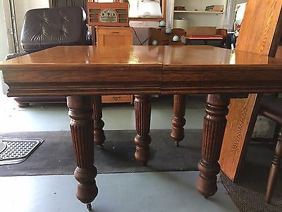 Antique Oak Square Farmer Table Dining 5 Reeded Legs Leafs 42 X