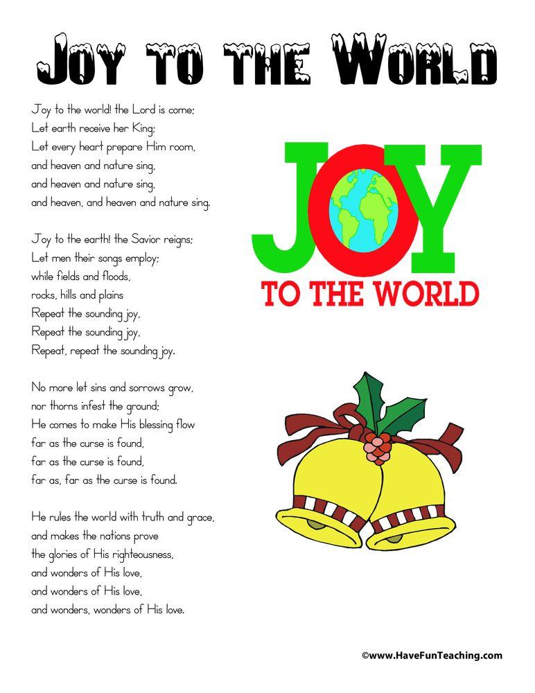 Joy to the World Lyrics | ESL | Christmas, Christmas songs lyrics ...