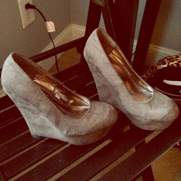 Mossimo gray wedges! these wedges are barely worn, suede and go great with any outfit!! Mossimo Supply Co. Shoes