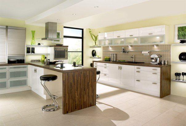 Great Kitchen Designs. Beautiful modern kitchen  great design idea combination of high gloss white cabinet