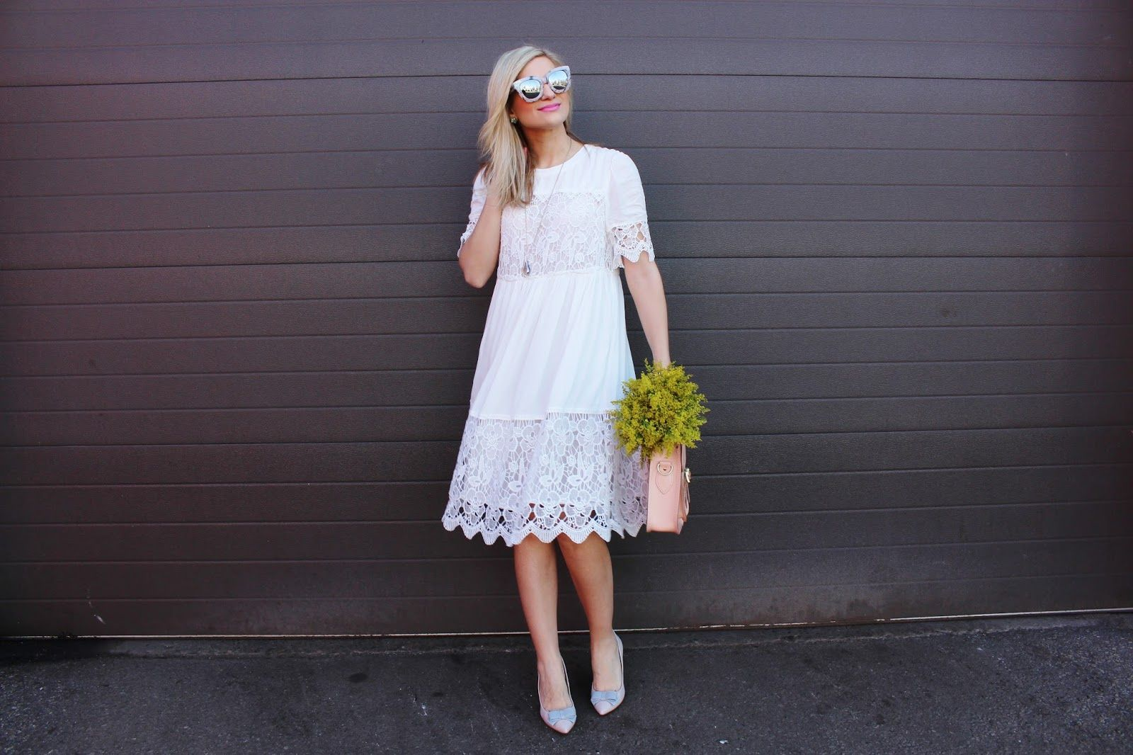 White dress for church - Bijuleni Joefresh Ethereal White Lace Dress Bow Heels And Cambridge Satchel