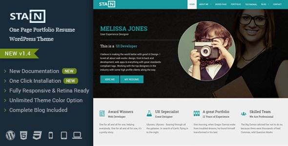 Resume Website Template Stain  One Page Portfolio Resume WordPress Theme Stain Has
