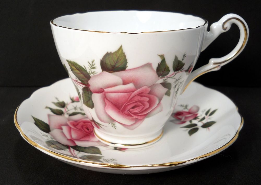 Vintage White /& Pink Rose Floral Bone China Footed Tea Pot