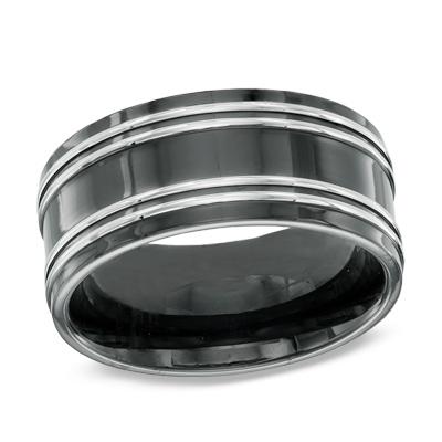 Zales Mens 8.0mm Striped Two-Tone Ceramic Wedding Band Fi6eZH81