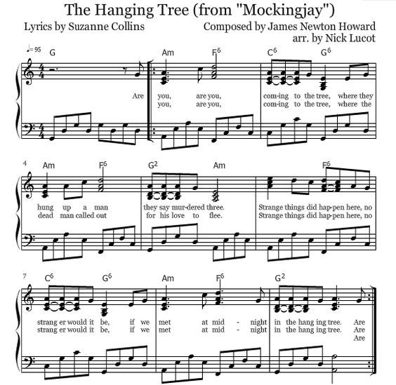 Mockingjay The Hanging Tree Piano Sheets Clarinet Sheet Music
