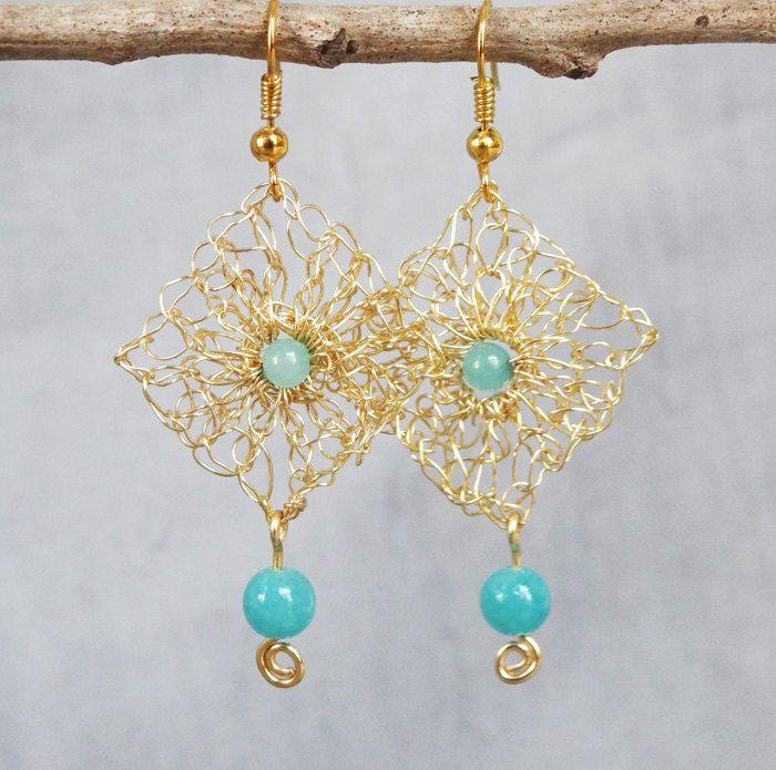 Handmade wire crochet earrings.Gold wire earrings.Dangle crochet ...