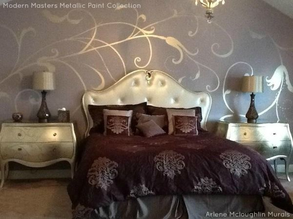 Master Bedroom Murals modern masters warm silver metallic paint used for a freehand