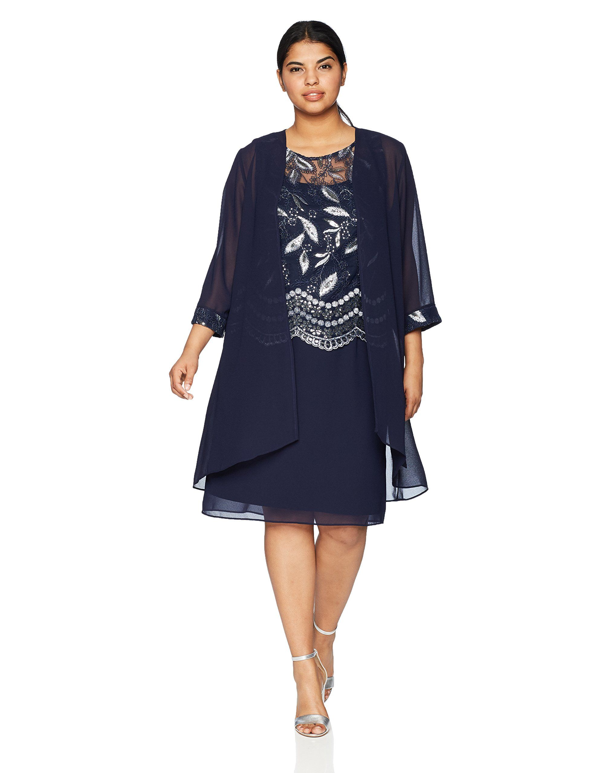 feee524183 Le Bos Womens Plus Size Duster Embroidered Jacket Dress Navy 16W    Read  more at the image link-affiliate link.  dresses