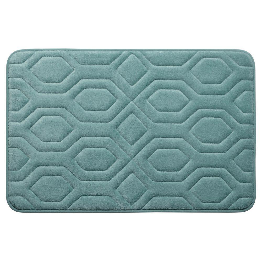 Turtle Shell Marine Blue 20 in. x 32 in. Memory Foam Bath Mat