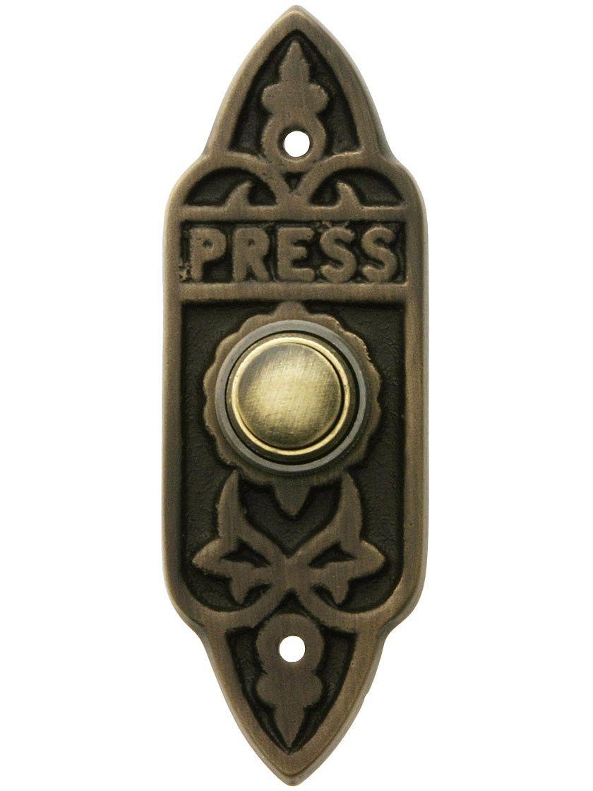 Edwardian Quot Press Quot Doorbell Button In Antique Brass In 2019
