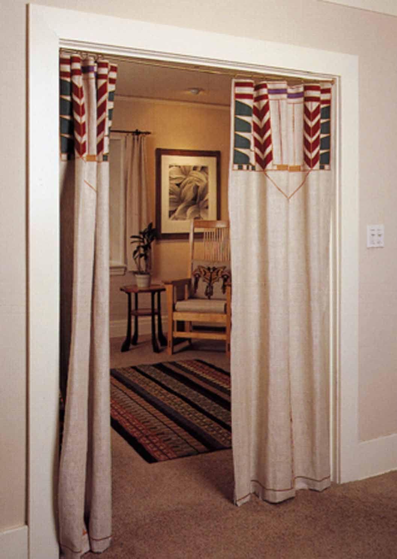 arts crafts curtain for door window treatments pinterest closet doors curtains for. Black Bedroom Furniture Sets. Home Design Ideas