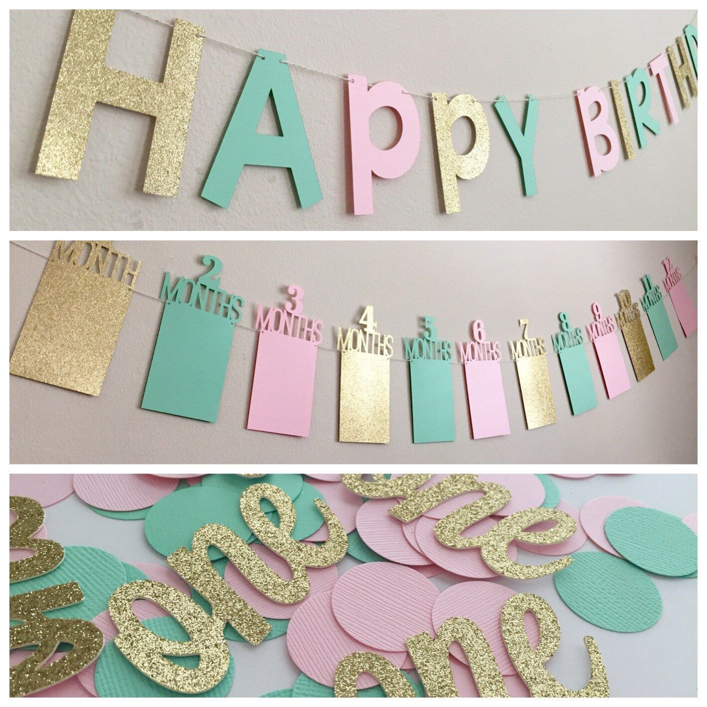 1000 Ideas About 1st Birthday Banners On Pinterest: First Birthday Party In A Box! In Gold, Mint, And Pink