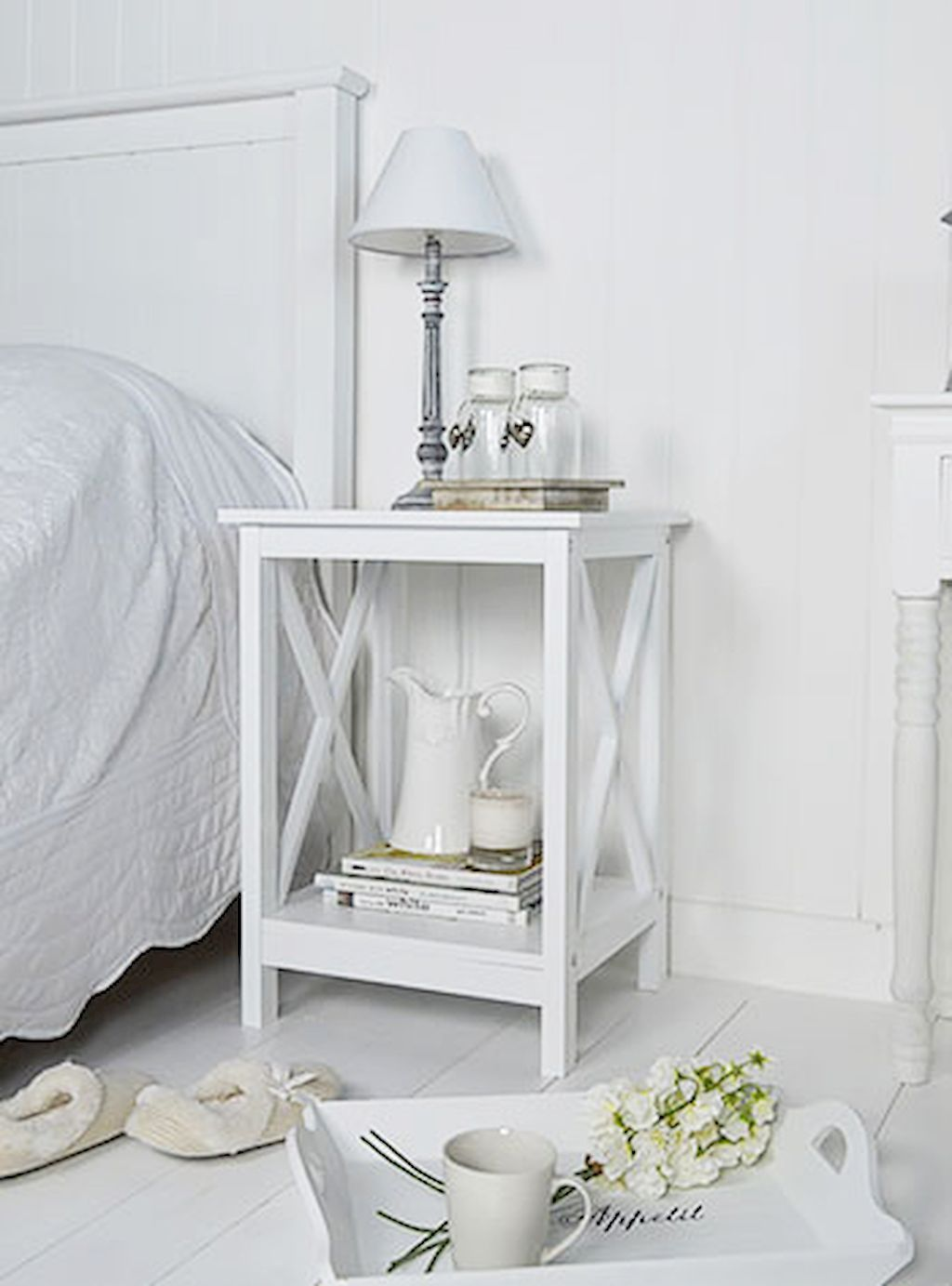 5 Beautiful Beside Table Decor Ideas  White bedside table, Side
