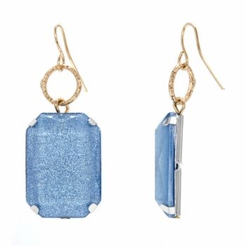 Mandee's Square Shimmer Dangle Earrings - Pewter Blue