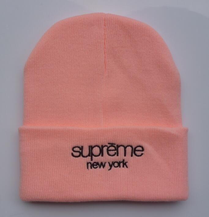 b01352d76fe Men s   Women s Supreme New York Classic Script Logo Embroidery Signature  Cuff Knit Beanie Hat - Pink   Black