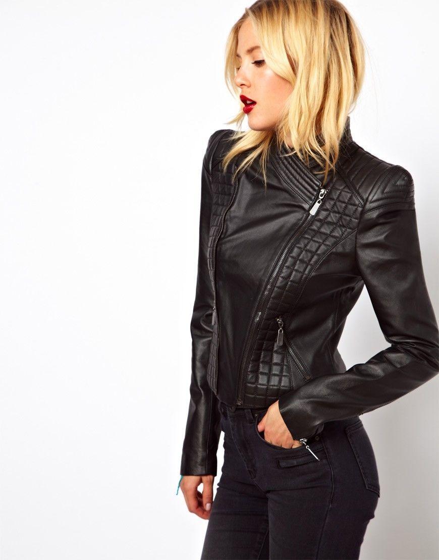 cbabc50ec4604 New Genuine 100 Soft Lambskin Women's Biker Quilted Leather Jacket WJ 70 |  eBay