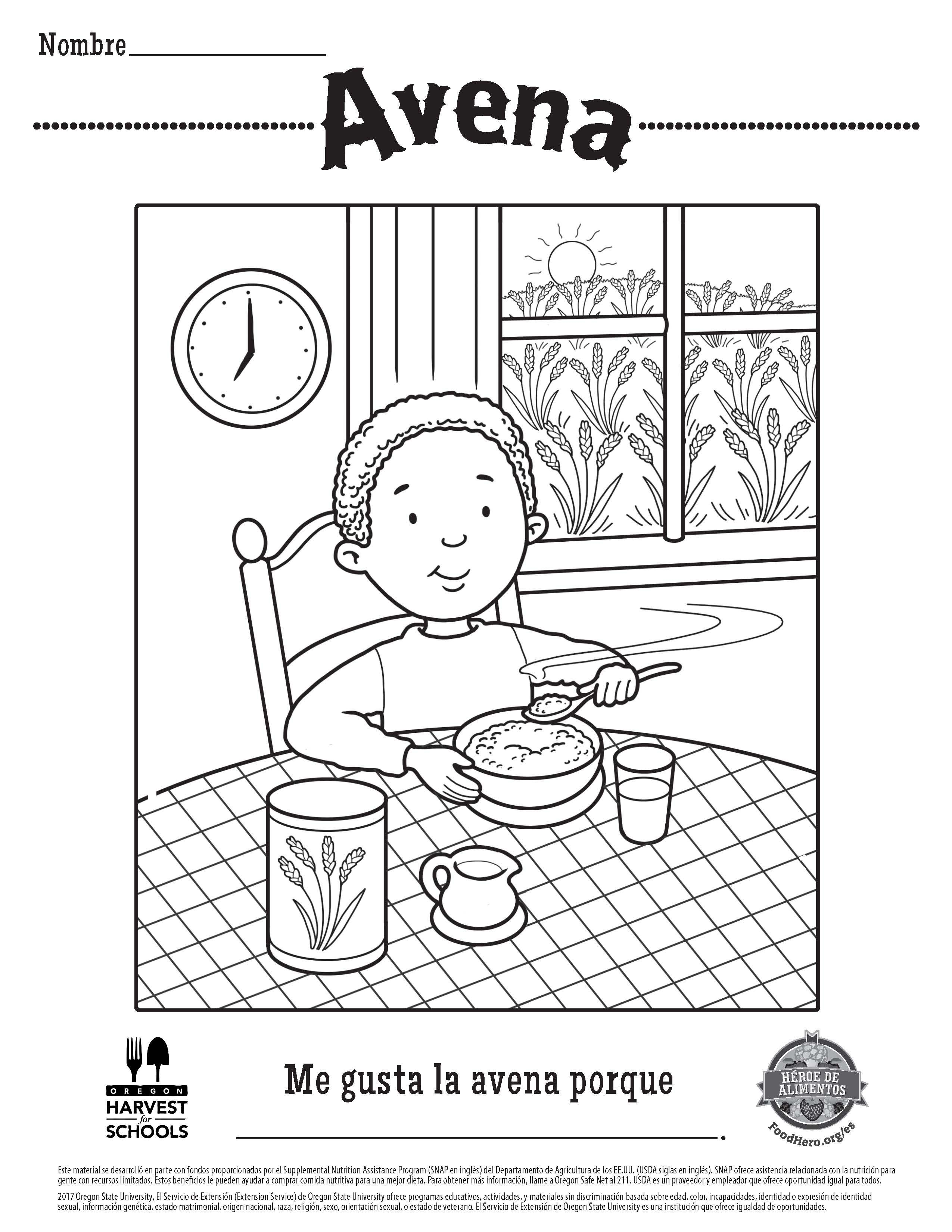 Free Printable Children\'s Coloring Sheet in Spanish Oats Food Hero ...
