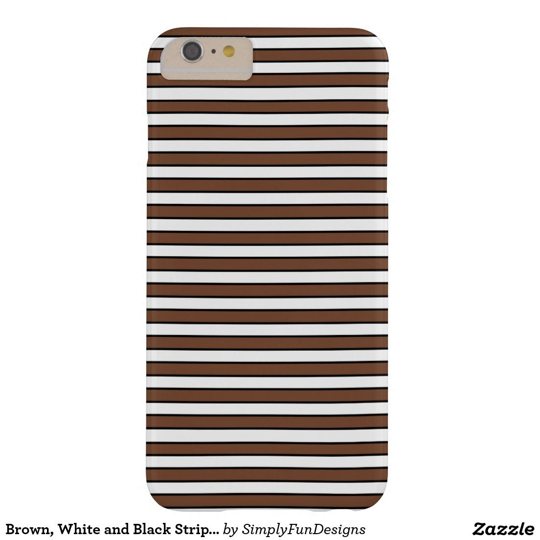 Brown, White and Black Stripes Barely There iPhone 6 Plus Case