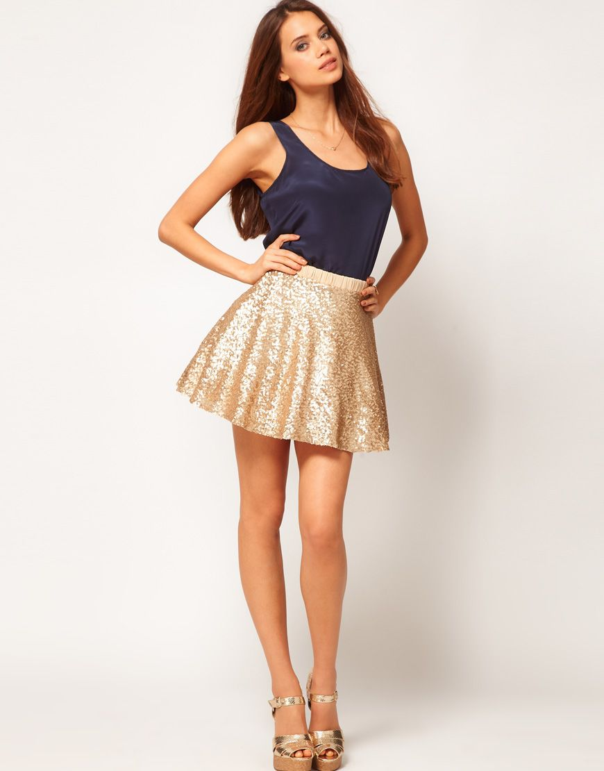 sequin skater skirt. divine. | Wear it. | Pinterest | Skirts, Gold ...