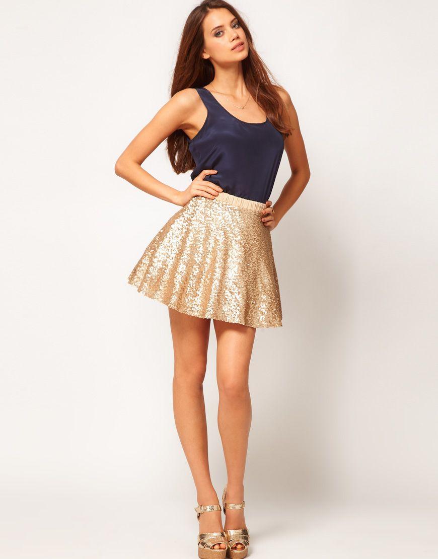 sequin skater skirt. divine. | Wear it. | Pinterest | Skirts, Gold ...
