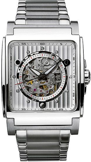 a7e20c5ac8bc Bulova 96A107 Men s Watch - Stainless Steel Automatic Silver Tone Skeleton  Dial