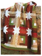 Log Cabin Hidden Stars Quilt Pattern using just 1 pack of 40 jelly roll strips.