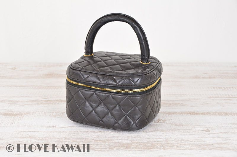 CHANEL Black Leather Matrasse Vanity Cosmetic Bag