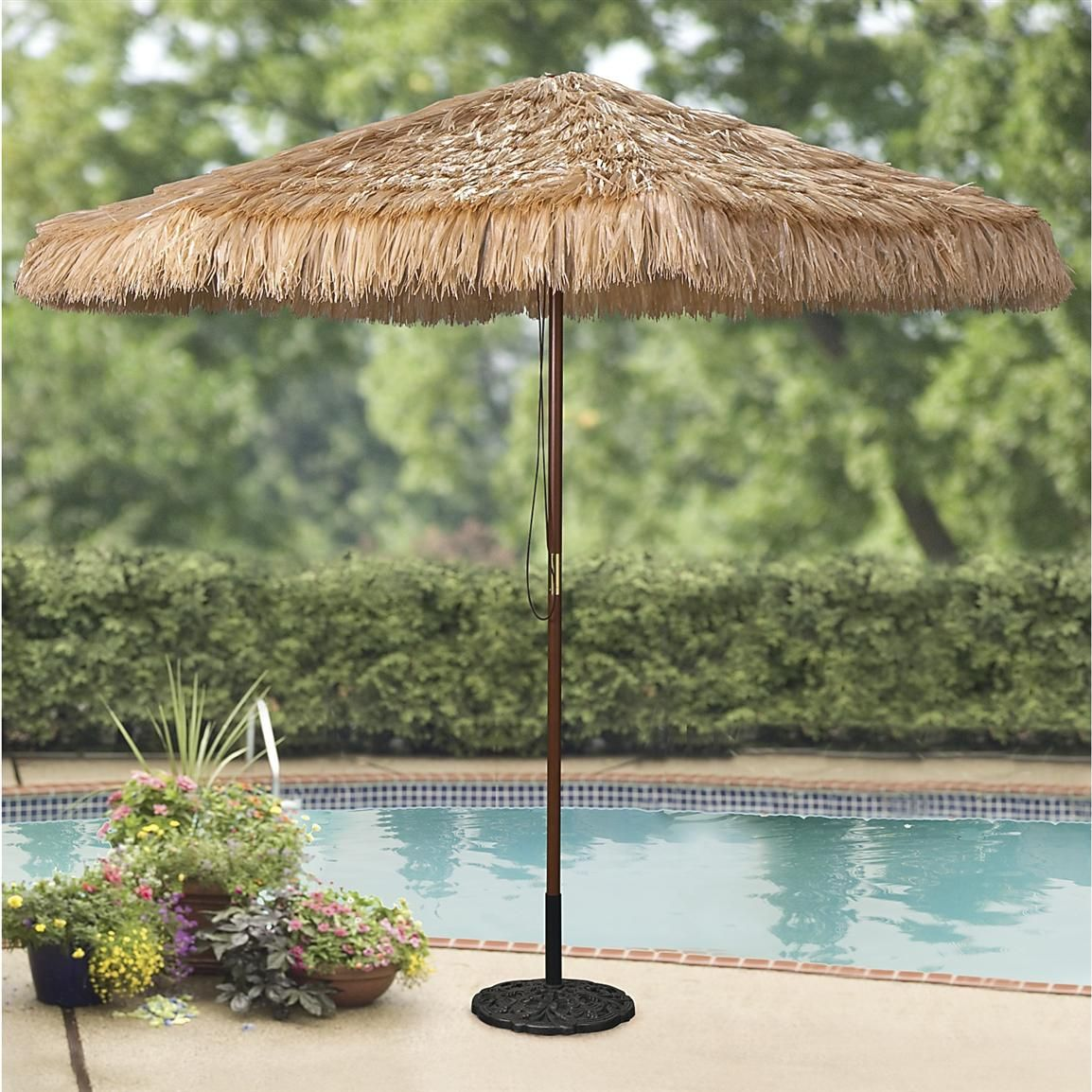 thatched tiki umbrella awesome accent for your patio backyard