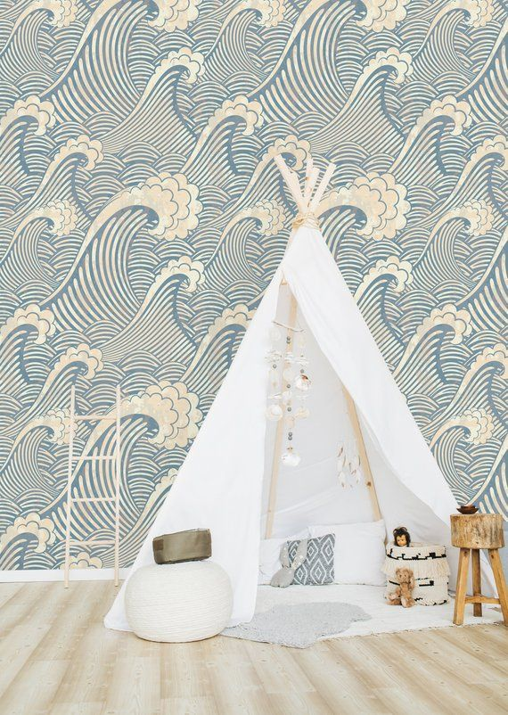 Blue Waves Removable WallpaperPeel and Stick Wallpaper